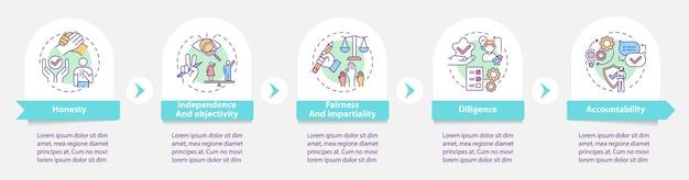 미디어 윤리 인포 그래픽 템플릿. 객관성, 책임 성 프레젠테이션 디자인 요소. 단계가있는 데이터 시각화. 타임 라인 차트를 처리합니다. 선형 아이콘이있는 워크 플로 레이아웃