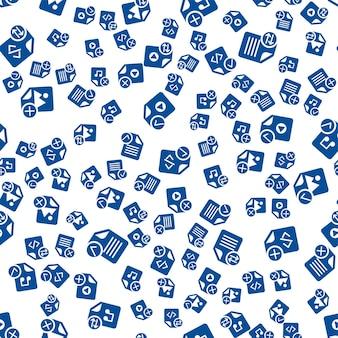 Медиа-файлы наброски значки на белом фоне. современный веб-дизайн бесшовные модели. шаблон различных веб-знаков. изолированные символы файлов аудио, видео и документов