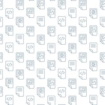 メディアファイルは、白い背景の上のアイコンを概説します。最新のwebシームレスパターンデザイン