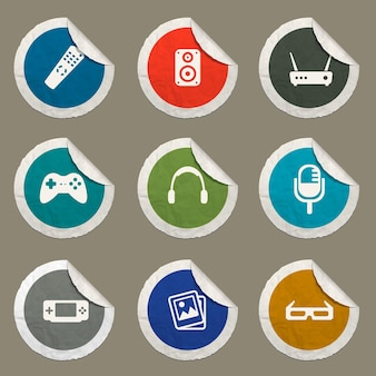 Media icons set for web sites and user interface