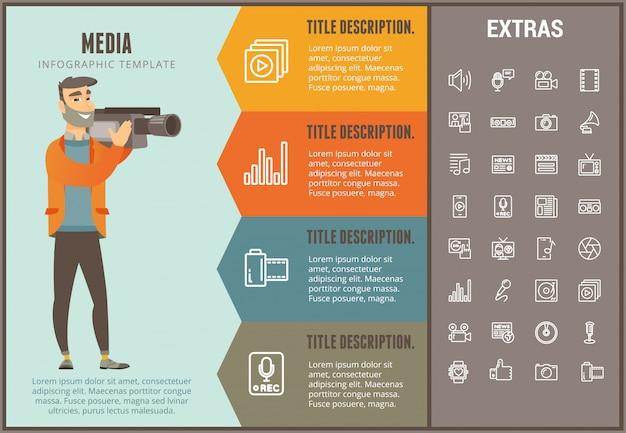 미디어 infographic 템플릿, 요소 및 아이콘