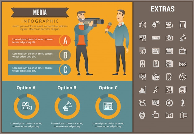Media infographic template, elements and icons