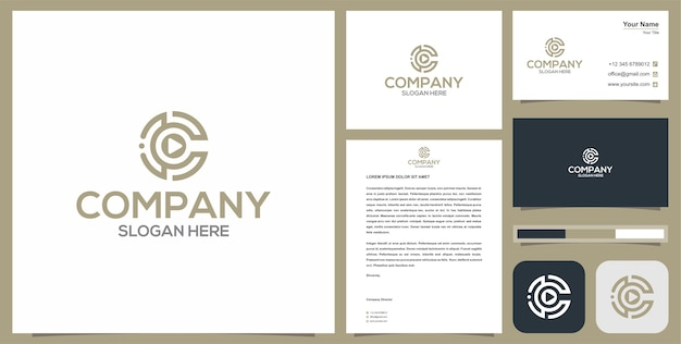 Media initial letter c logo and business card