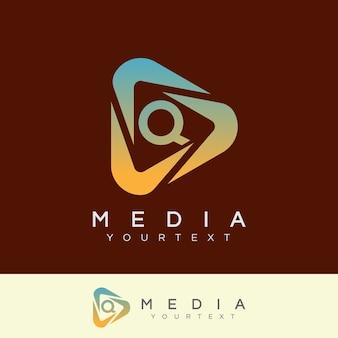 メディアの初期レターqロゴデザイン