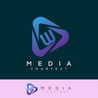 Media initial letter w logo design