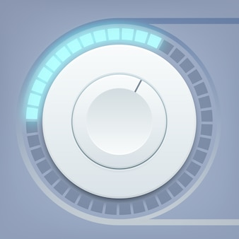 Media interface design template with round volume control and sound scale