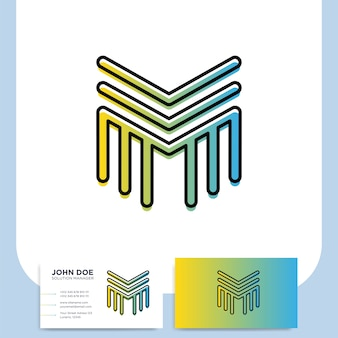 Media letter m vector logo in a modern line style