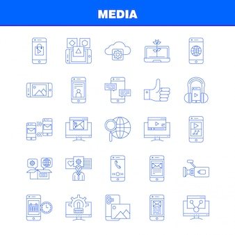 Media line icon: mobile, cell, world, internet, mobile, cell, phone, mail, pictogram
