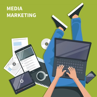Media marketing and advertising concept