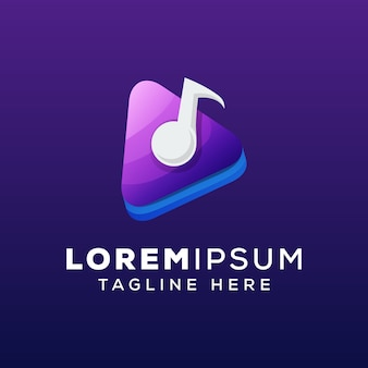 Media music concept logo template