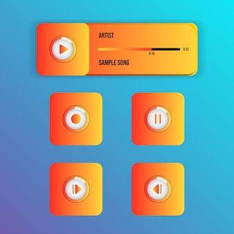 Media music video player stylish glossy interface with glass effect buttons