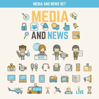 Media and news infographic elements for kid