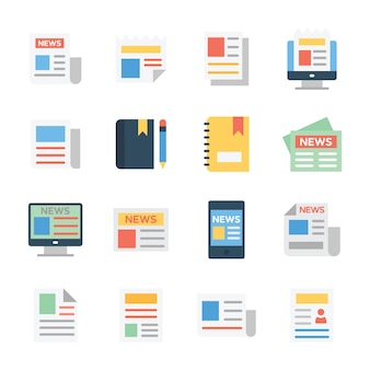 Media paper flat icons pack