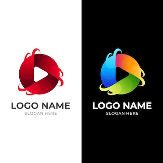 Media planet logo, play button and planet, logo combination with 3d colorful style