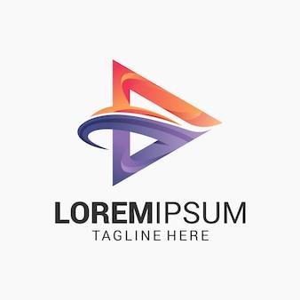 Шаблон дизайна логотипа media play gradient