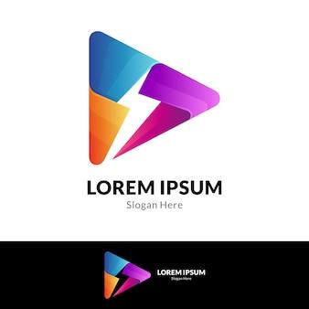 Media play logo combination with thunder shape