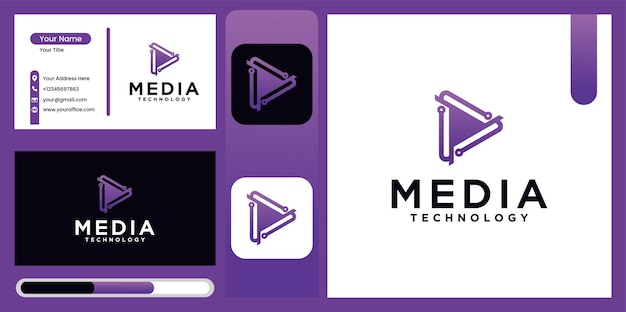 Media play technology logo design in gradation color options technology media player logo icon