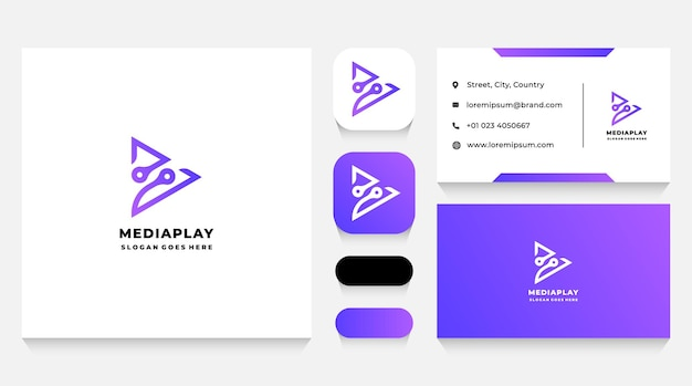 Media play technology logo template and business card