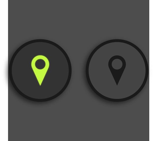 미디어 플레이어 버튼 검은 배경에 녹색 조명된 위치 버튼 빛나는 premium 벡터