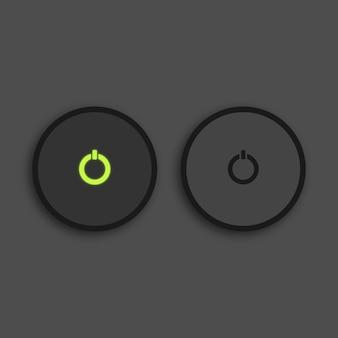 검은 배경에 버튼의 녹색 조명 빛나는 미디어 플레이어 버튼 premium 벡터