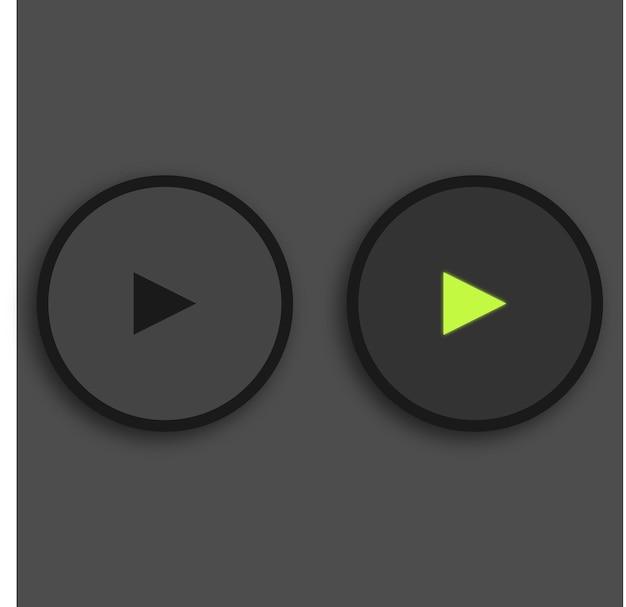 미디어 플레이어 버튼 검은 배경에 녹색 조명된 재생 버튼 빛나는 premium 벡터