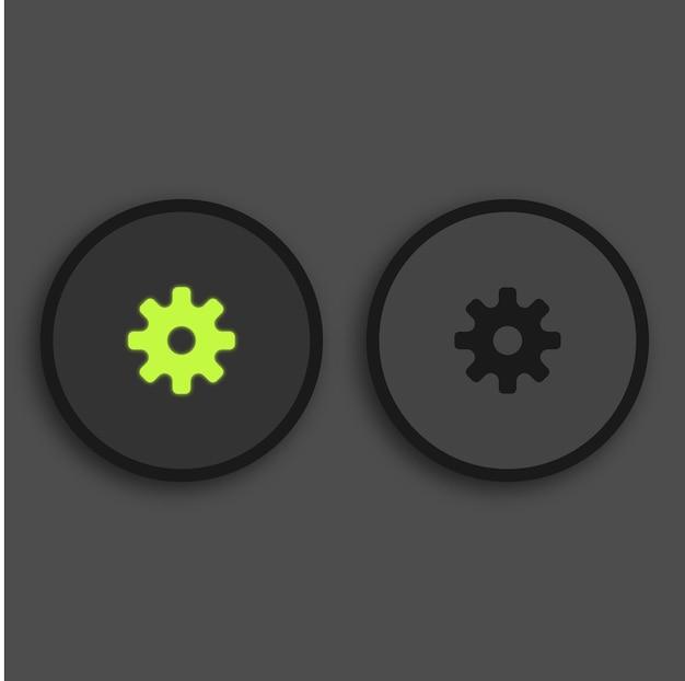 미디어 플레이어 버튼 검은 배경에 녹색 조명 설정 버튼 빛나는 premium 벡터