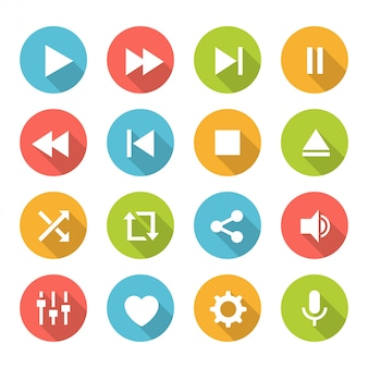 Media player buttons set
