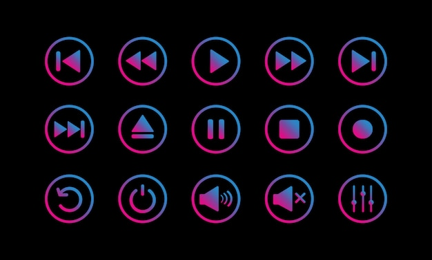 Media player control icon set.