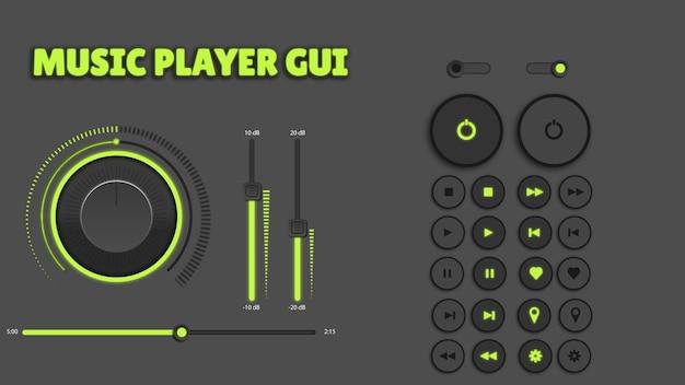 미디어 플레이어 검은 배경 버튼 세트 오디오에 녹색 조명 버튼 빛나는 프리미엄 벡터
