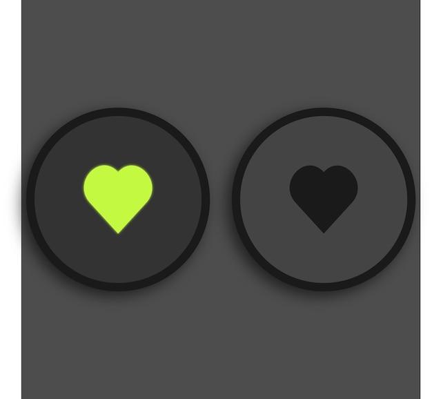 검은 배경에 녹색 조명된 심장 좋아하는 버튼 빛나는 미디어 플레이어 premium 벡터