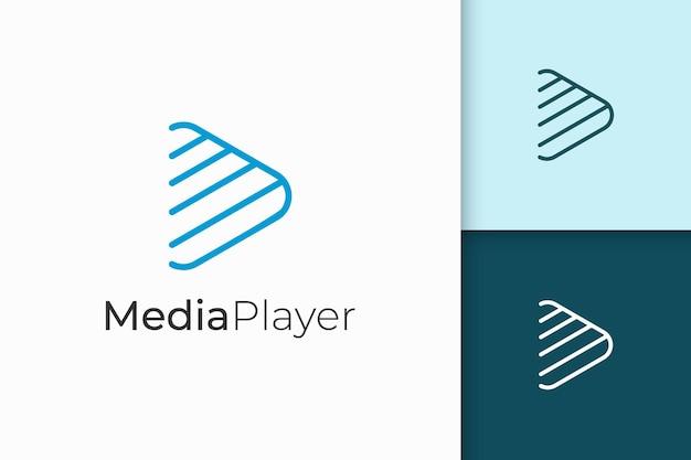 단순하고 현대적인 라인 아트 플레이 모양의 미디어 플레이어 로고