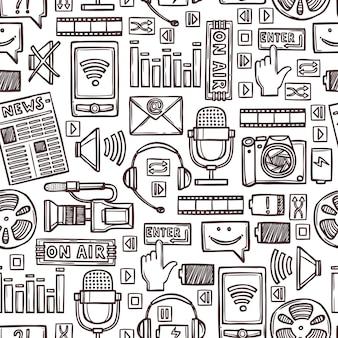 Media sketch seamless pattern