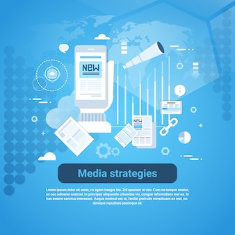 Media strategies template web banner with copy space