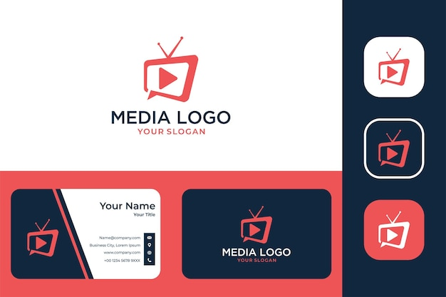 Media television modern logo design and business card