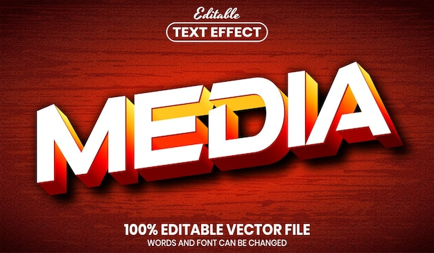 Медиа-текст, редактируемый текстовый эффект стиля шрифта