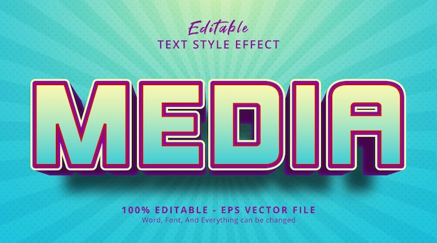 Media text on light color combination style, editable text effect