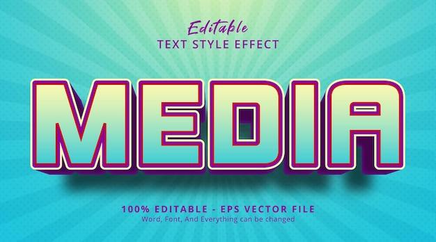밝은 색상 조합 스타일의 미디어 텍스트, 편집 가능한 텍스트 효과