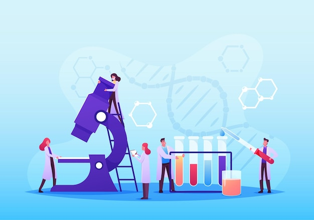 Medic characters conduct medical analysis with equipment microscope and glass flasks. chemistry, scientists in chemical laboratory, science, pharmaceutical research. cartoon people vector illustration