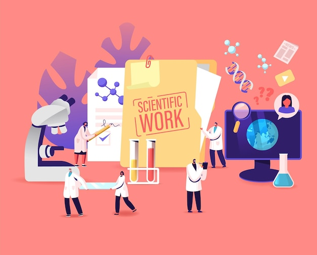Medic characters conduct scientific work, medical analysis with equipment microscope and glass flasks. chemistry, scientists in chemical laboratory science research. cartoon people vector illustration
