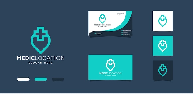 Medic location logo design and business card