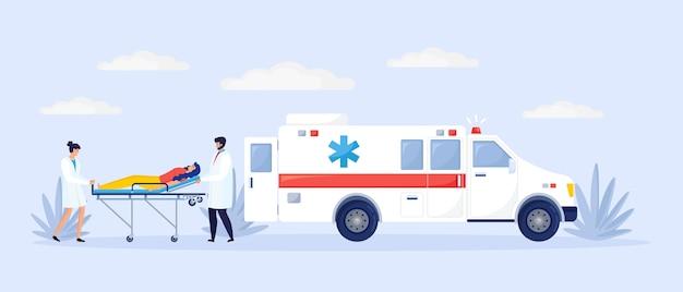 Медицинский персонал возле спасательной машины скорой помощи