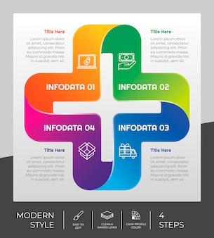 メディックステップインフォグラフィックデザイン、4つのステップ、プレゼンテーション用のカラフルなスタイル。3dオプションインフォグラフィック