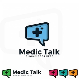 Medic talk logo illustration template.