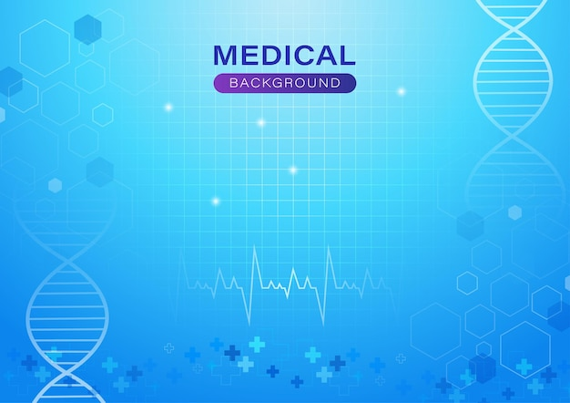 Medical abstract background with concept in blue light dna and heart rate
