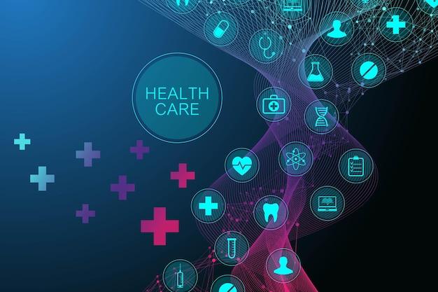 ヘルスケアアイコンパターンと医療の抽象的な背景。医療イノベーションの概念。 dnaストランドの線と点、波の流れ、デザインのdna分子構造。ベクトルイラスト