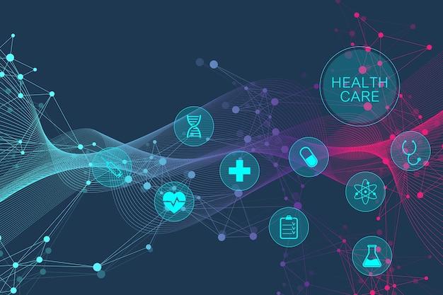 건강 관리 아이콘으로 의료 추상적인 배경입니다. 의료 기술 네트워크 개념입니다. 연결된 선과 점, 파동, 분자, dna. 디자인을 위한 의료 배경입니다. 벡터 일러스트 레이 션