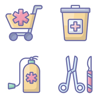 Medical accessories flat icons pack