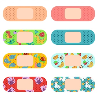 Medical adhesive plaster for adults and kids cartoon set isolated on white.
