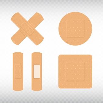 Medical adhesive plasters set on transparent background