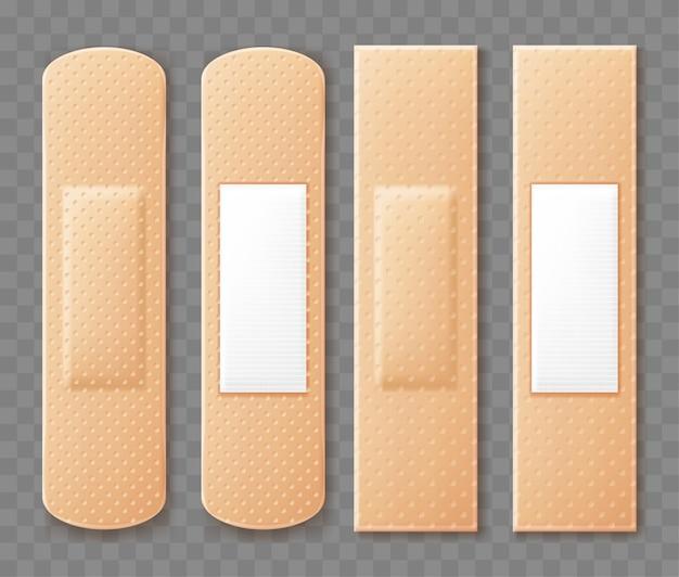 Медицинские лейкопластыри набор. реалистичные иллюстрации, изолированные на прозрачном фоне. иллюстрация.